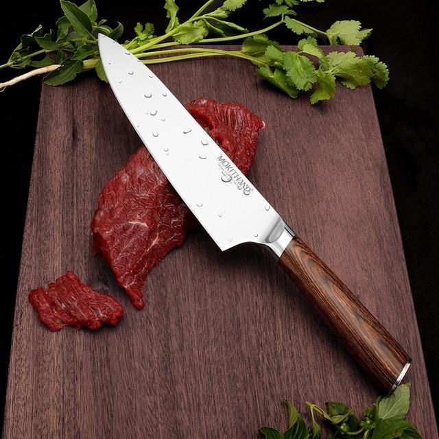 Cuchillo de cocina japonesa Set de cuchillos de Chef profesional Alemania 1,4116 de acero de alto carbono vegetal Santoku cuchillo de pan para cocinar 2