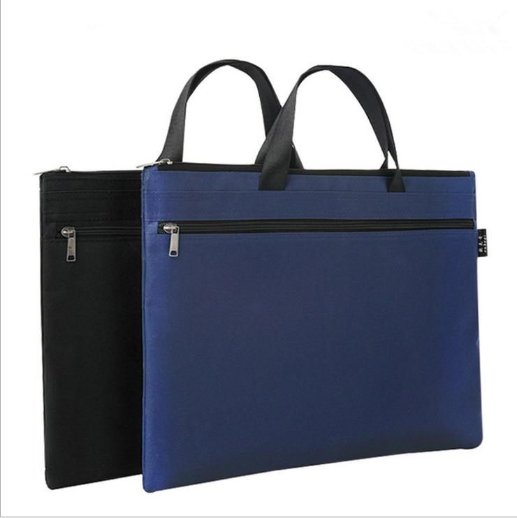 Office Waterproof Portable Document Bag Canvas Tutorial Bag Briefcase Conference Bag Zipper Information Bag