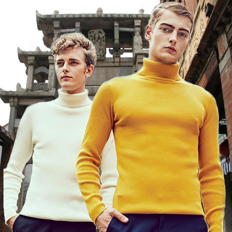 2019 High Collar Thick Wool Pullover Men's Pull Men's Black Yellow Cashmere Men's Sweater Slim Men's Streetwear Pullover