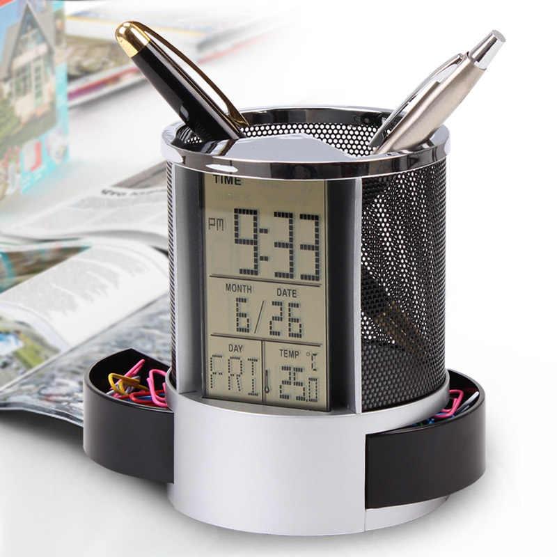 Multifunções caneta lápis titular calendário digital despertador tempo temp função metal malha para casa escritório suprimentos du55
