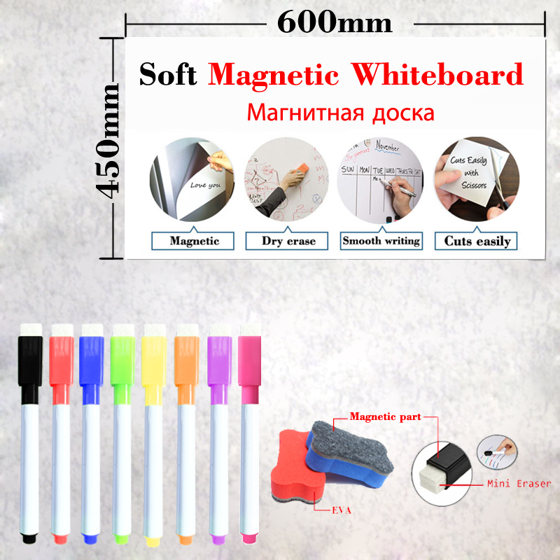 Size 450*600mm Soft Magnetic Whiteboard Dry Eraser White Board Memo Wall Board Fridge Stickers School Office Magnetic Pad