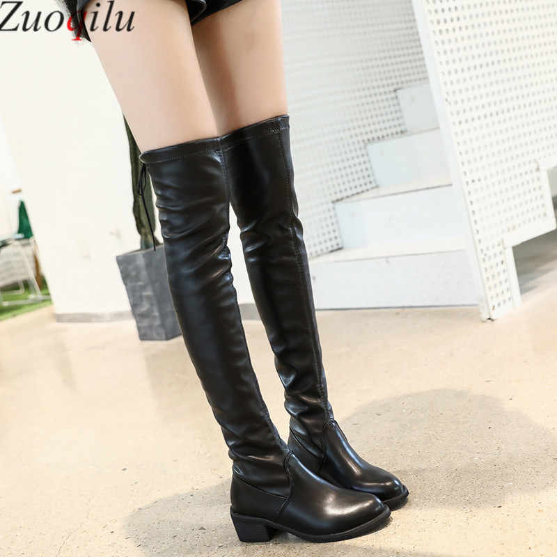 Botines mujer 2019 Faux daim sur le genou bottes à lacets talons hauts chaussures femme mince cuissardes