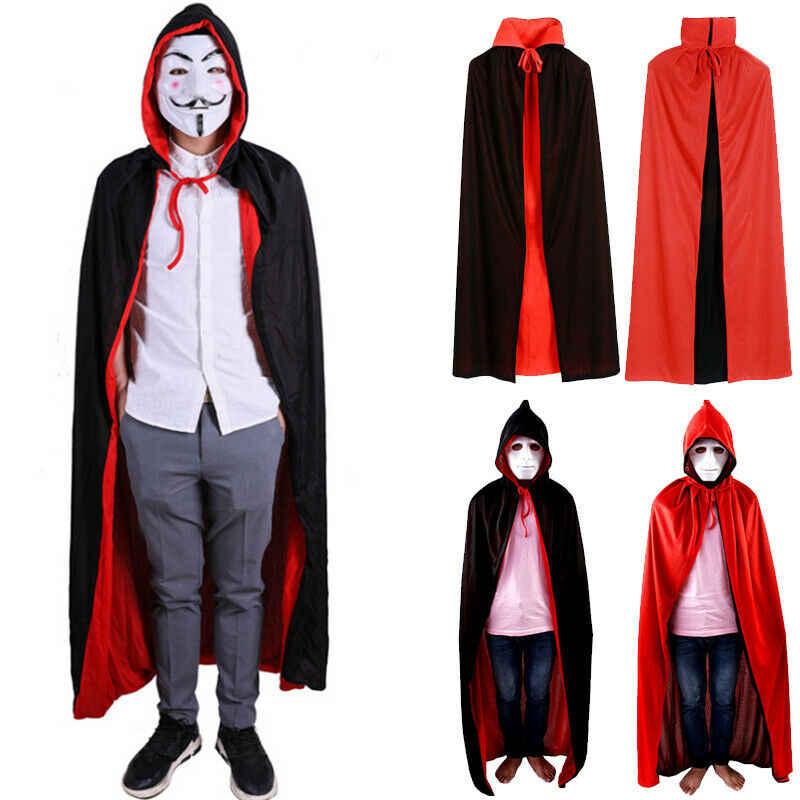 2 tarzı siyah kırmızı Grim Reaper şeytan Cosplay kostüm standı yaka ve kapşonlu pelerin Robe pelerin cadılar bayramı adam kadın Cosplay elbise