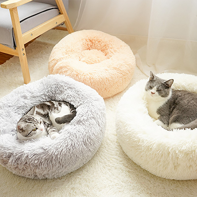 Fluffy Pet Dog Bed Soft Round Dog Long Plush Kennel For Dogs Washable Puppy Cat Bed Cushion Winter Warm Sofa House Accessories 5