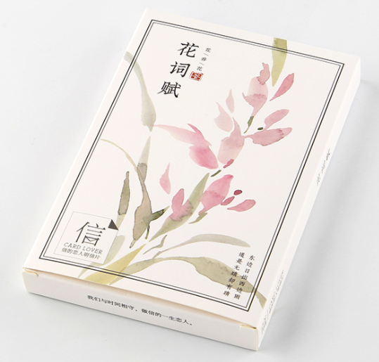 A17- Flower Words Paper Postcard(1pack=30pieces)