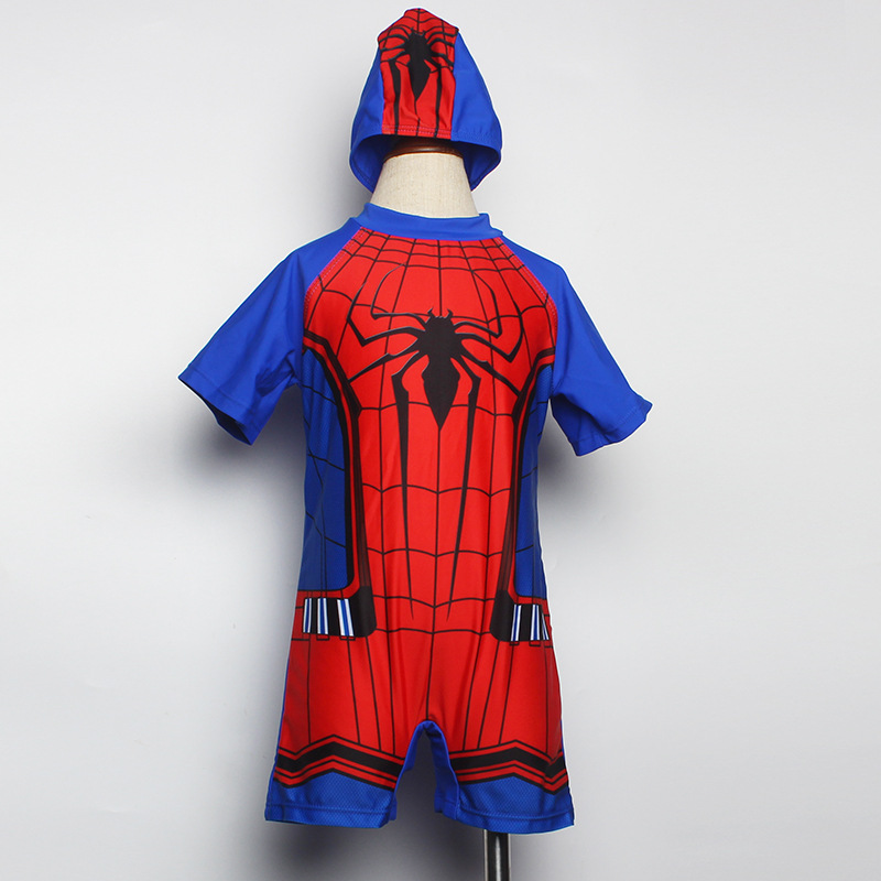 Male Baby One-piece Swimming Suit Short Sleeve Shorts Classic Cartoon Spider Contrast Color BOY'S Gift Sun-resistant Hooded Bath