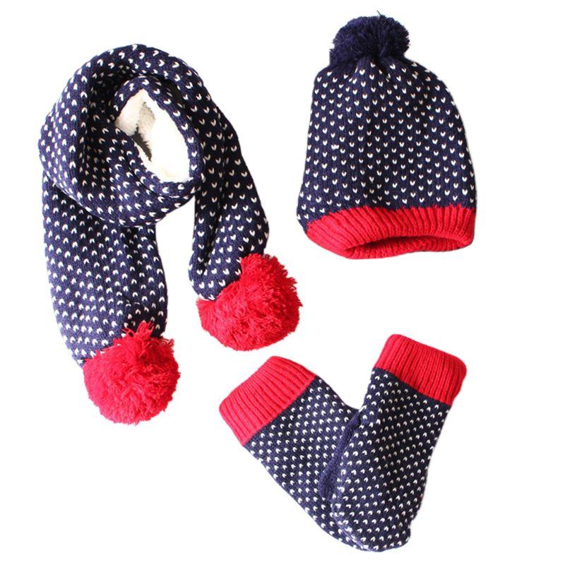 Unisex New Woolen Yarn Children Scarf Hat Gloves Set Child Kid Stars Stripes Fashion Kids Mittens 3 Pcs Accessory
