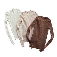Femmes pull pull basique côtelé chandails couverture en coton tricoté solide col rond avec trou de pouce