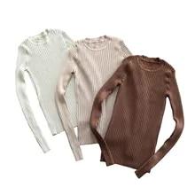 Camisola feminina pulôver básico camisolas com nervuras algodão topos de malha sólida gola com furo de polegar