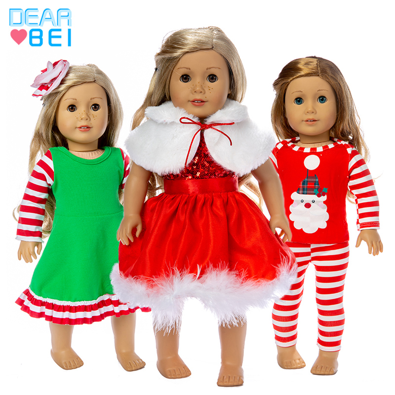 2019 New Fashion Christmas Clothes  Suits Fit For American Girl Doll 18Inch American Girl Doll Clothes