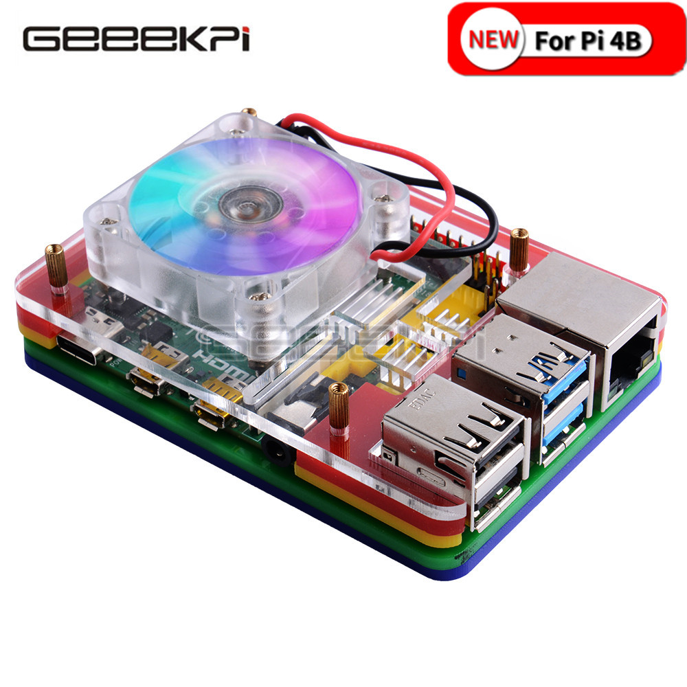 GeeekPi New 5-layer Acrylic Transparent ( Clear & Black ) / Black / Colorful Case with Cooling Fan for Raspberry Pi 4B ICE TOWER