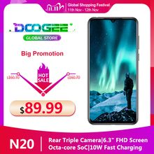 "Doogee n20 telefone móvel 6.3 ""waterdrop tela 16mp triplo câmeras traseiras 4350mah 4gb + 64gb octa núcleo 10w carga 4g smartphone"