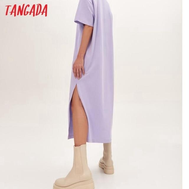 Tangada 2021 Women Elegant 95% Cotton Sweatshirt Dress Oversized Short Sleeve Side Open Ladies Midi Dress 6L60 2