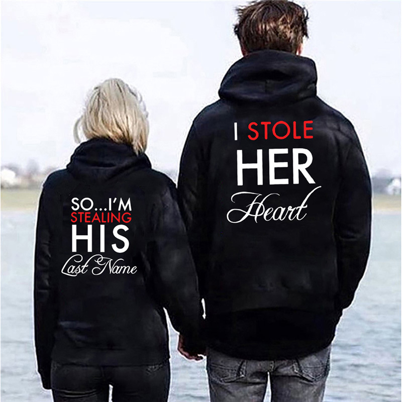 Stole Her Heart Printed Hooded Couple Sweatshirt Fashion Casual Letter Women Hoodies Sweatshirt Women's Clothing