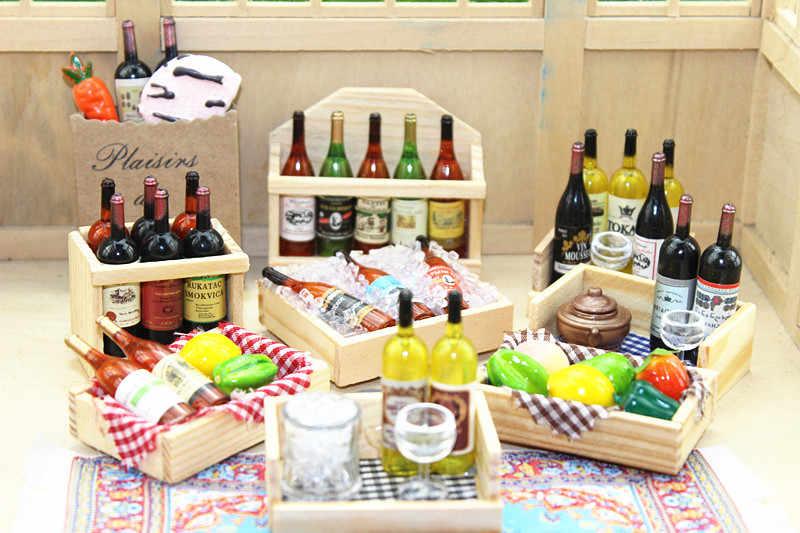 1:12 Миниатюрный Кукольный домик, 9 стилей, мини винные бутылки, коробка для фруктов, конфеты, еда, игрушка, подходит для леса, животных, семья, коллекционный подарок