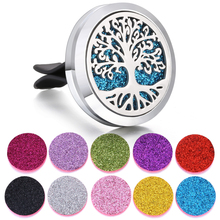 Car Perfume Diffuser 30mm Stainless Steel Lockets Tree of Life Essential Oil Aromatherapy Necklace Pendant