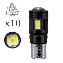 10 pces t10 led w5w 12v 5630 6500k carro luz de leitura decodificação lente de alumínio preto não extremamente alta temperatura luz de teto