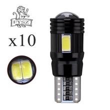 10Pcs T10 LED W5W 12v 5630 6500k Car reading light decoding lens black aluminum non extremely high temperature ceiling light