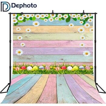 Dephoto Pascua fotografía Fondo primavera flores huevos madera suelo fondos para niños adultos retratos estudio fotográfico