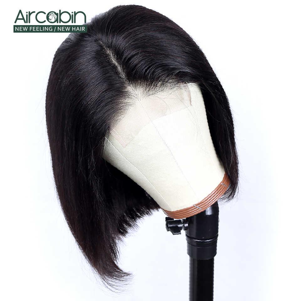 """Aircabin Glueless 4x4 zamknięcie koronki peruka brazylijski ludzki włos 8 """"-16"""" Cal peruka 150% gęstości średni brąz szwajcarska peruka typu Lace nie Remy"""