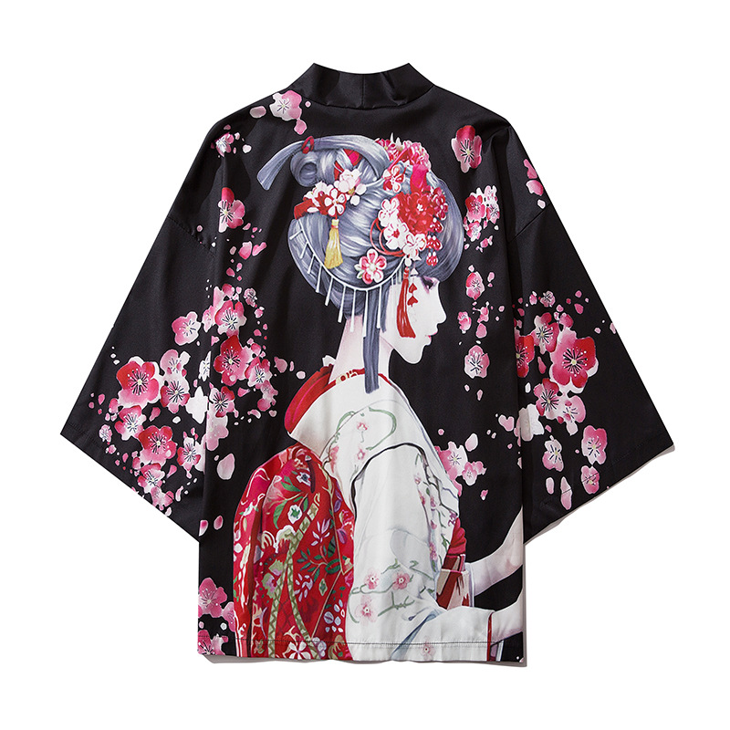 Black Fashion Streetwear Beauty Print Kimono Cardigan Robe China Haori Obi Traditional Japanese Clothes For Women Men