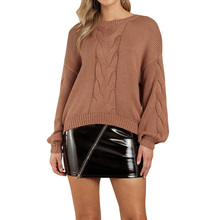 3XL Round Neck Sweater Women Long Sleeve Solid Color Pullover Sweater Knitted Jumper Tops Female Blouse Dames New round neck solid color stylish long sleeve men s sweater