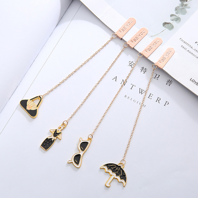 Cute Black Sunglass Bookmarks Creative Metallic Pendant Book Mark For Book Kids Girls Gift School Office Supplies Stationery