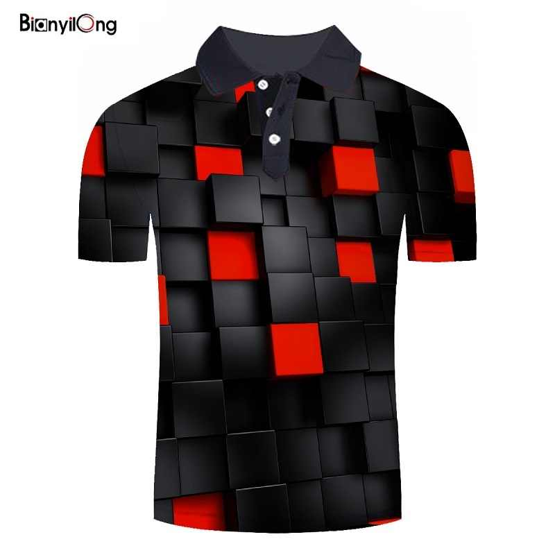 Bianyilong 2019 여름 핫 폴로 셔츠 남성 짧은 소매 폴로 셔츠 레드 스퀘어 3d 인쇄 셔츠 슬림 피트 면화 남성 폴로 셔츠