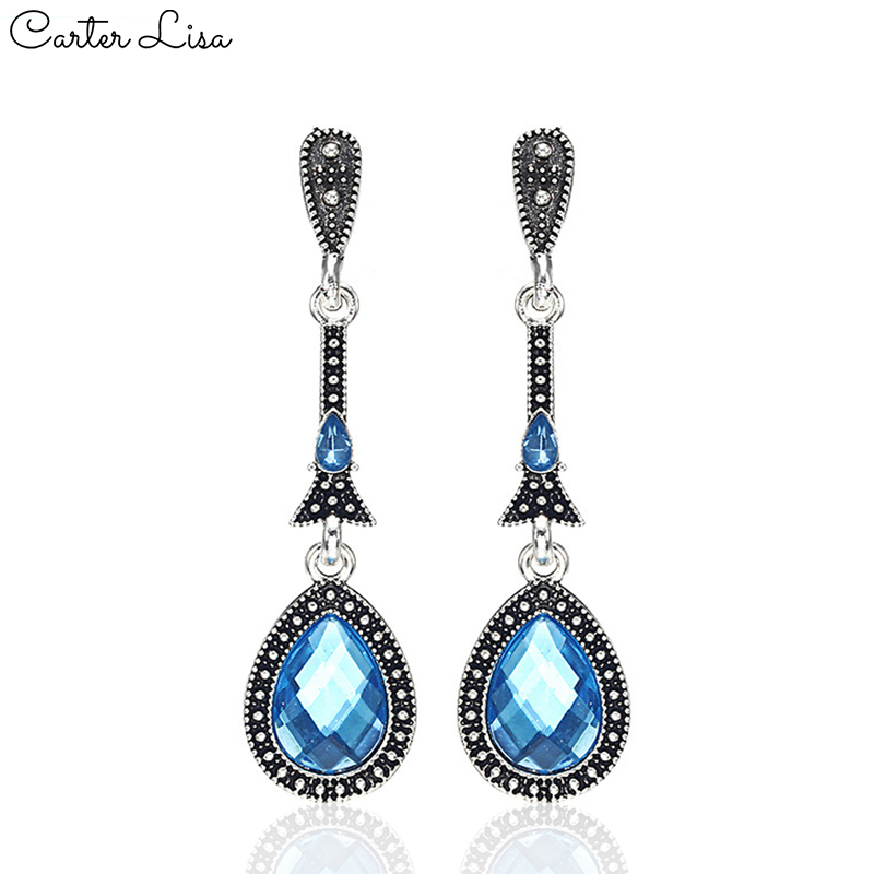 CARTER LISA 2019 New Korean Fashion Dangle Earrings Long Statement Water Drop Blue Crystal Drop Earring For Women Ear Jewelry