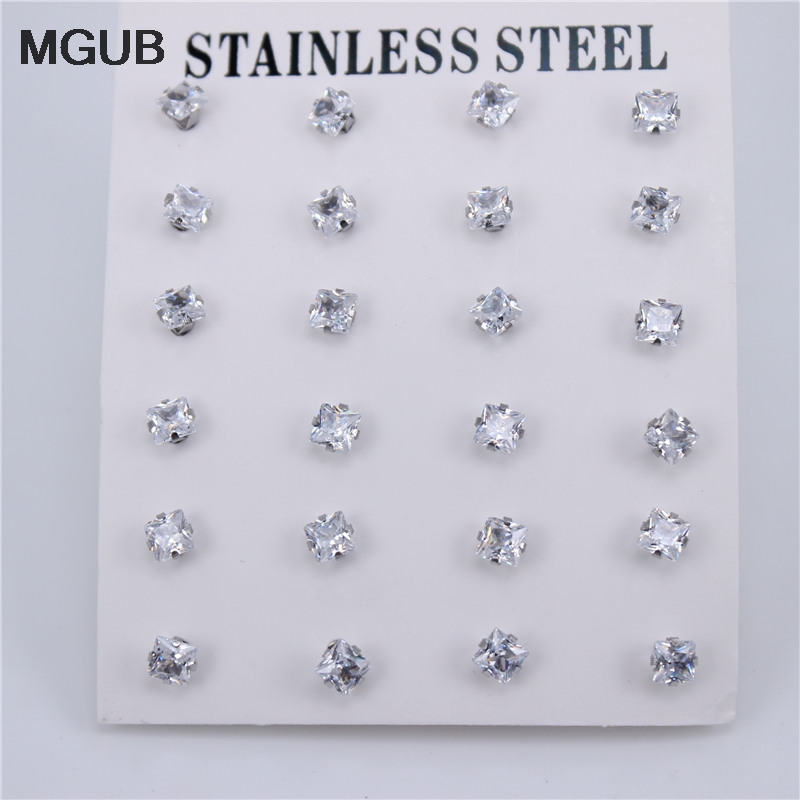 12 Pairs/set Silver Color Diameter 3-6mm High Quality Cubic Zirconia Stud Earrings For Women Stainless Steel Jewelry ZN27