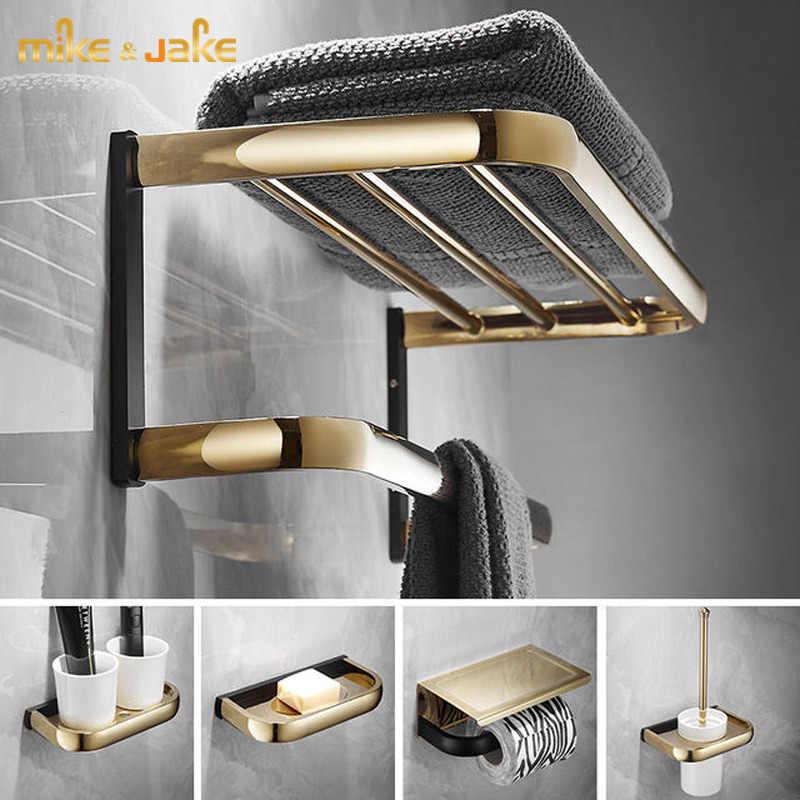/étag/ère T-YSPJ Porte-serviettes en or noir espace aluminium salle de bain pendentif porte-serviettes ensemble /étag/ère de salle de bain