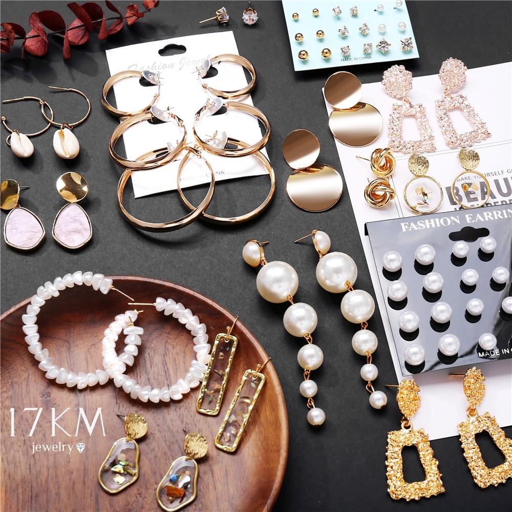 17KM Fashion Earrings Gold Drop Earrings For Women Round Shell Acrylic Geometric Earring 2020 Brincos Ethnic Vintage Jewelry