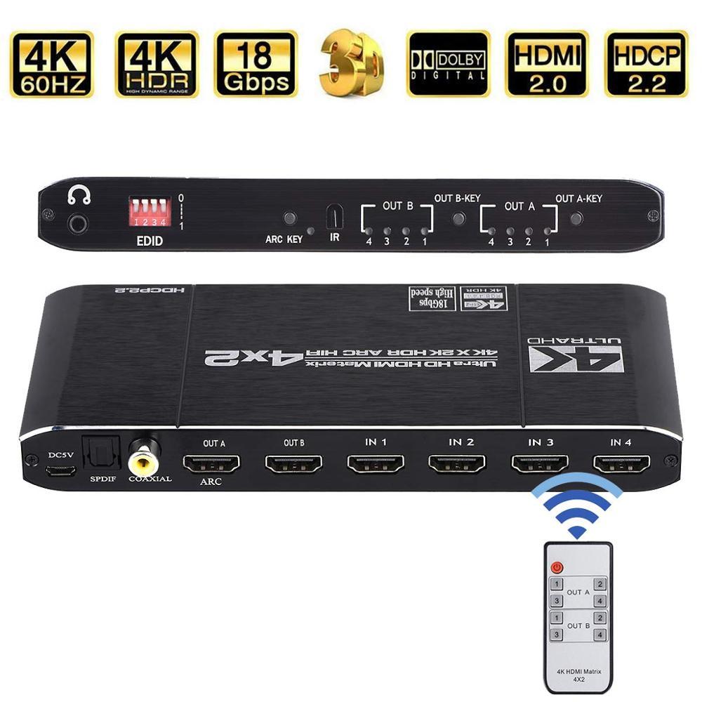 KEBIDU 4K @ 60 Гц матрица 4x2 18,5 Гбит/с HDMI-совместимый переключатель сплиттер с SPDIF и L/R 3,5 мм HDR 4x2 Поддержка HDCP 2,2 3D