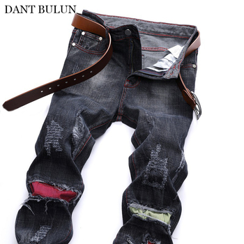 Fashion Brand Men Jeans Pants Mens Slim Straight Trousers Patchwork Streetwear Black Ripped Hole Homme