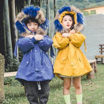 baby girls boys winter thickeness warm white duck down coat 2-9T kids fur hooded children fashionable jacket kids long snowsuit