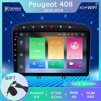 OKNAVI for Peugeot 408 308 308SW 2010-2016 Android 9.0 Car Radio DVD Player GPS Navigation 10 Support Rear View Camera DVR OBD image