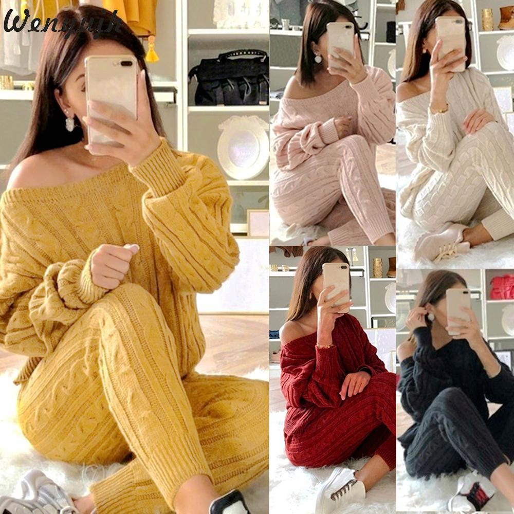 Wenyujh 2019 Sweater Set Knitting Tops And Pants Set Outfits For Women O-Neck Solid Warm Set Fashion Autumn Winter Knitted Sets