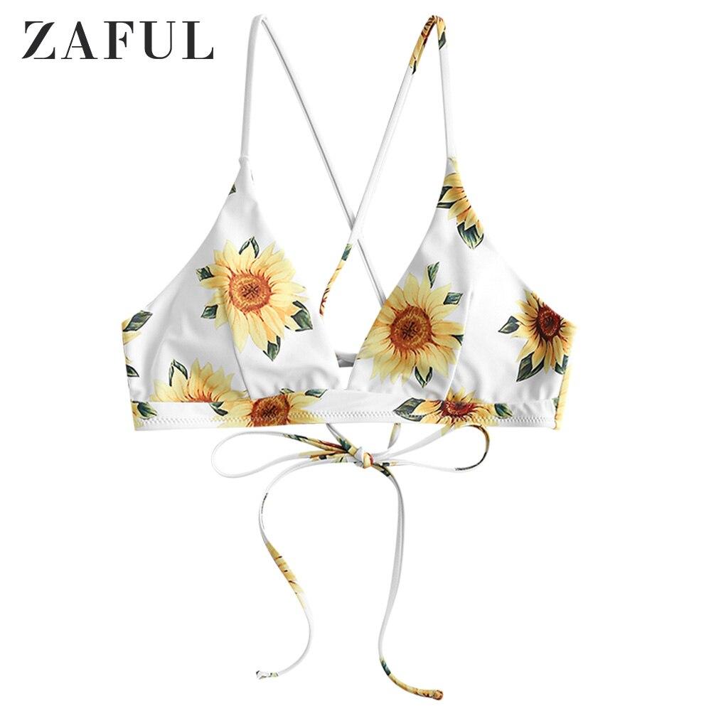 ZAFUL Crisscross Lace-Up Sunflower Bikini Top Lace Up Bikini Top Elastic Swimsuit Top Women Bathing Suit Top Floral Bikini Top