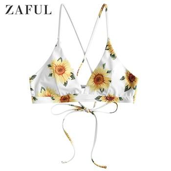 ZAFUL Crisscross Lace-Up Sunflower Bikini Top Lace Up Bikini Top Elastic Swimsuit Top Women Bathing Suit Top Floral Bikini Top фото