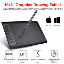 10*6 Inch Professional Graphic Tablet 8192 Levels Digital Drawing Tablet For MAC Window No need charge Pen Tablet