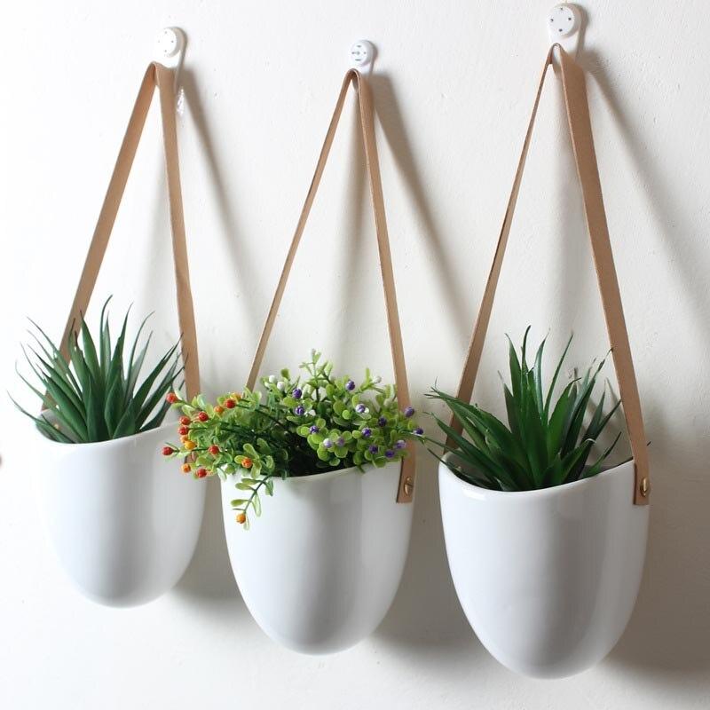 Créative en céramique blanche tenture murale jardinières maison salon plantes succulentes Pots suspendus Pot de fleur décoration murale Vase bonsaï