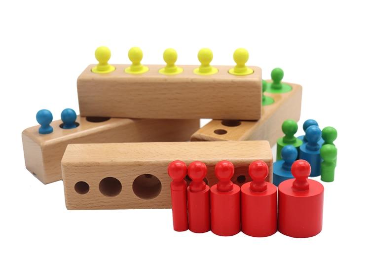 Головоломка Монтессори с цилиндрической розеткой, игрушка для обучения развитию ребенка, дошкольные Развивающие деревянные игрушки для детей 6