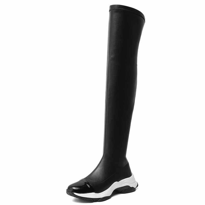 FEDONAS automne hiver Sports femmes bottes extensibles en cuir véritable femmes chaudes Slim au-dessus du genou bottes hautes nouvelles plates-formes bottes