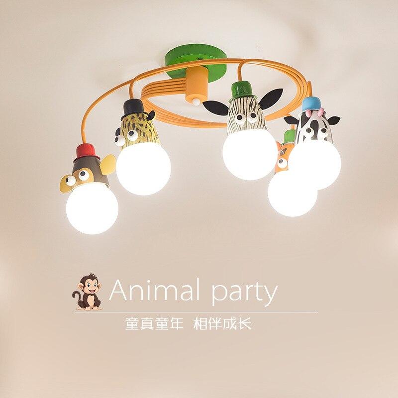 Lampa pokojowa Led dla dzieci, sypialnia dla chłopców i dziewcząt, prosta nordycka lampa sufitowa dla zwierząt, spersonalizowany żyrandol