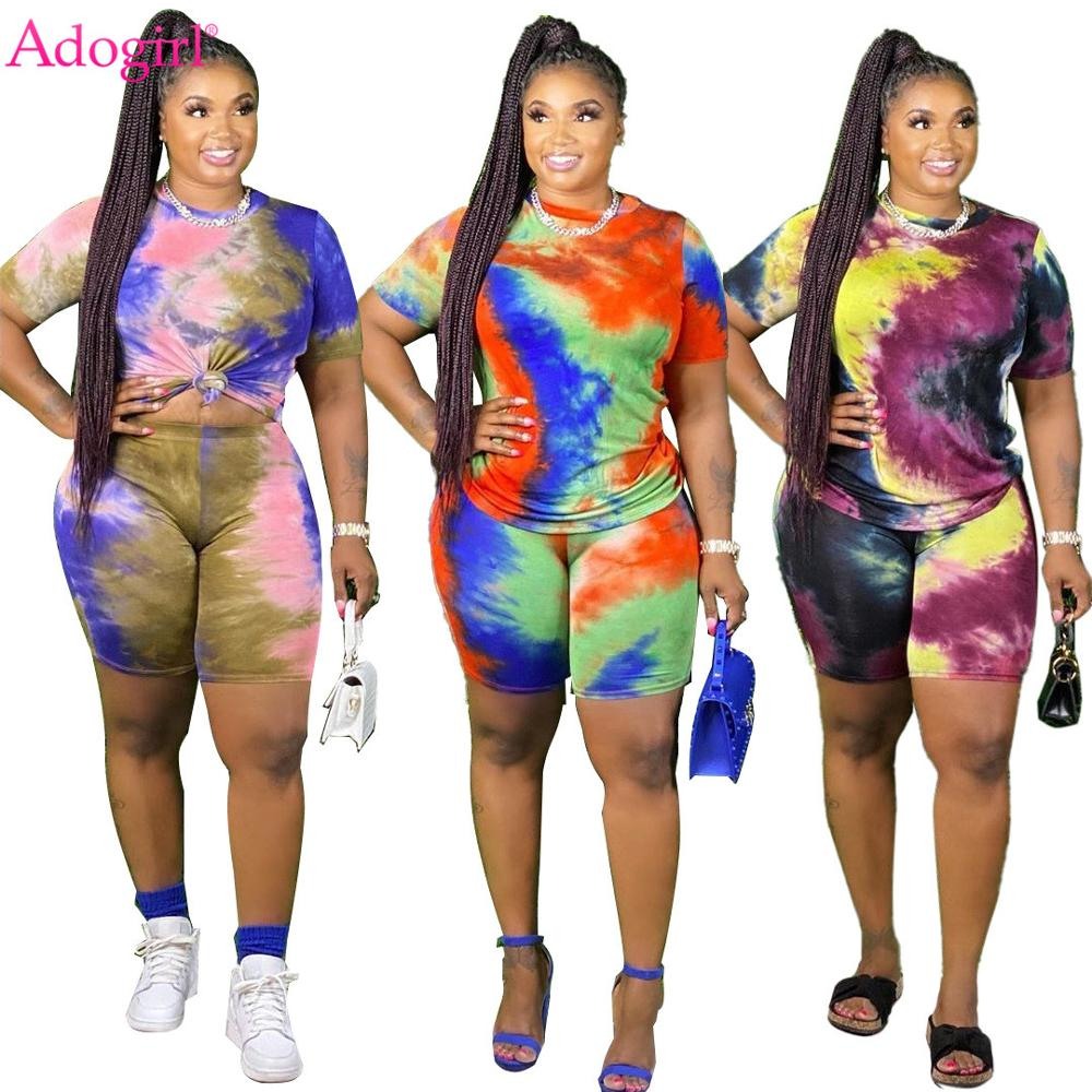 Adogirl Tie Dye Print Two Piece Set Plus Size XL-5 XL Women Casual O Neck Short Sleeve T Shirt Shorts Home Suit Casual Tracksuit