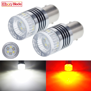 Image 1 - 2x1157 BAY15D P21/5W 30W מתח גבוה LED רכב הפעל אות מנורת הפוך DRL אורות אוטומטי Swichback Led לבן אמבר הכפול צבע נורות