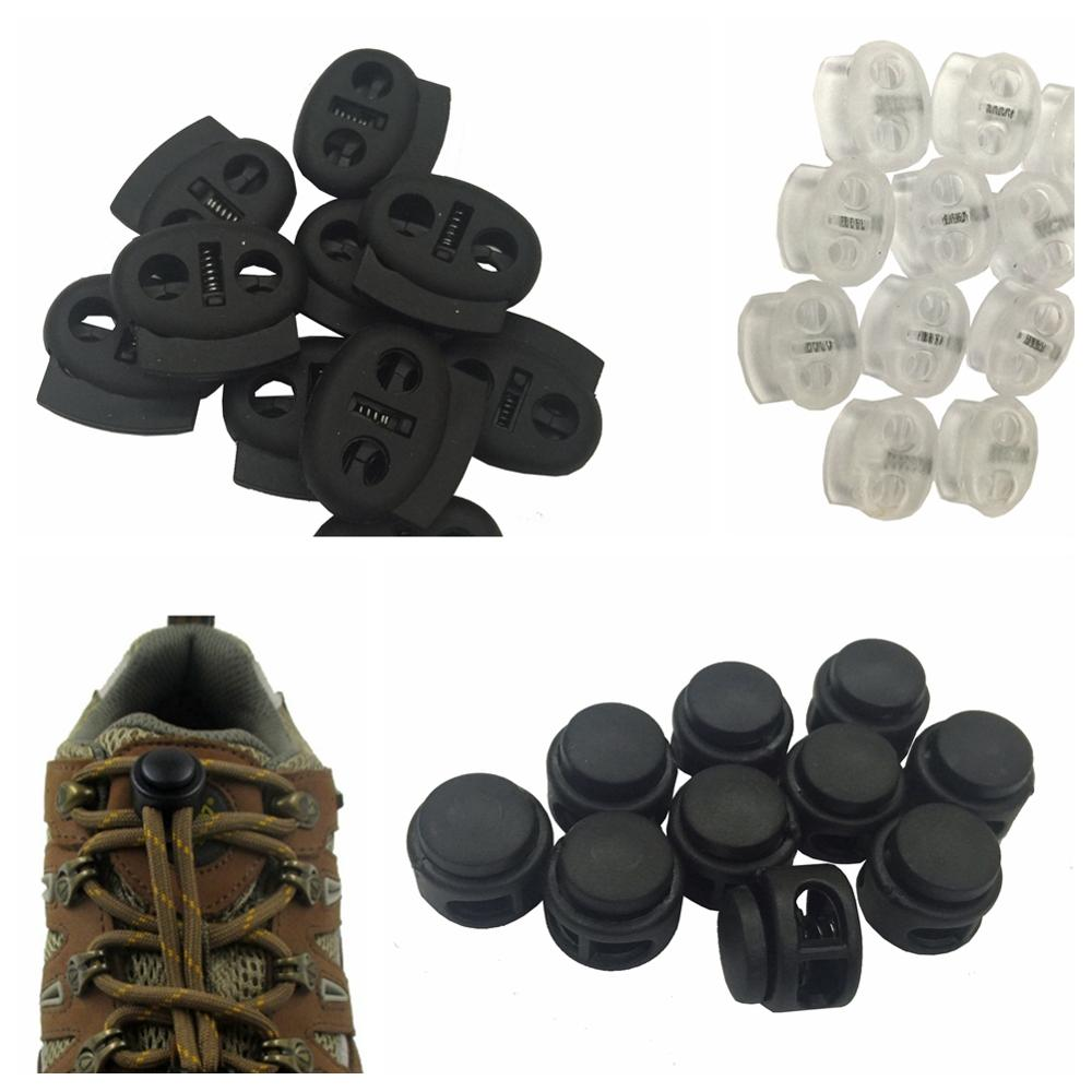 100 PCS Shoelace Rope Cord Lock Plastic Stopper Cord End Toggle Clip Buckle Drawstrings Adjuster