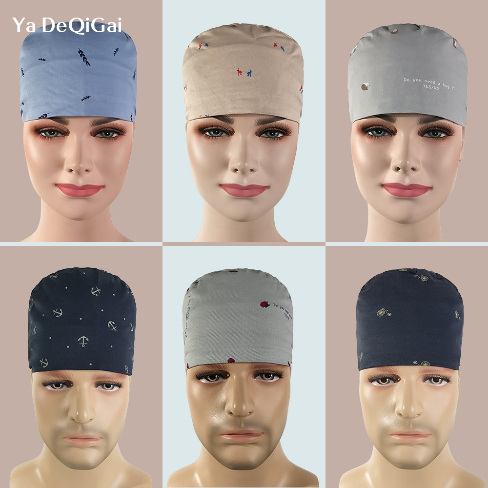 Pharmacy Cotton Printing Medical Cap Medical Staff Nursing Cap Operating Room Work Hat Pet Doctor Surgical Cap Nurse Accessories