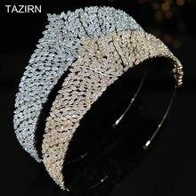 Klasyczna pełna cyrkonia ślubne tiary ślubne i korony cyrkonia korowód biżuteria stroiki do włosów sukienka na Quinceanera