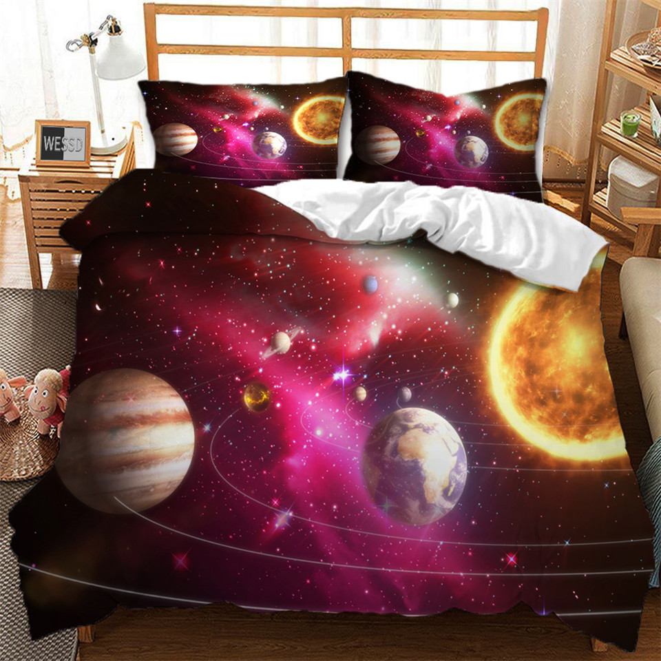 3D Space Universe Duvet Cover And Pillowcase Bed Set Child Planet Bed Linen Bed Cover 1Or 2 People  Beddings For Boys Youth